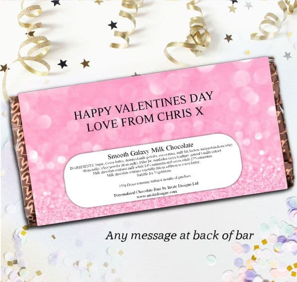 Personalised Love Hearts Happy Valentines Day Milk Chocolate Bar - Gift N117
